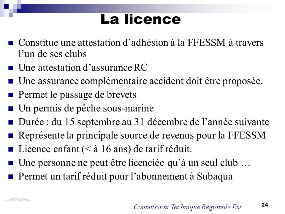 La licence Constitue une attestation d'adhésion à la FFESSM à travers l'un de ses clubs. Une attestation d'assurance RC.