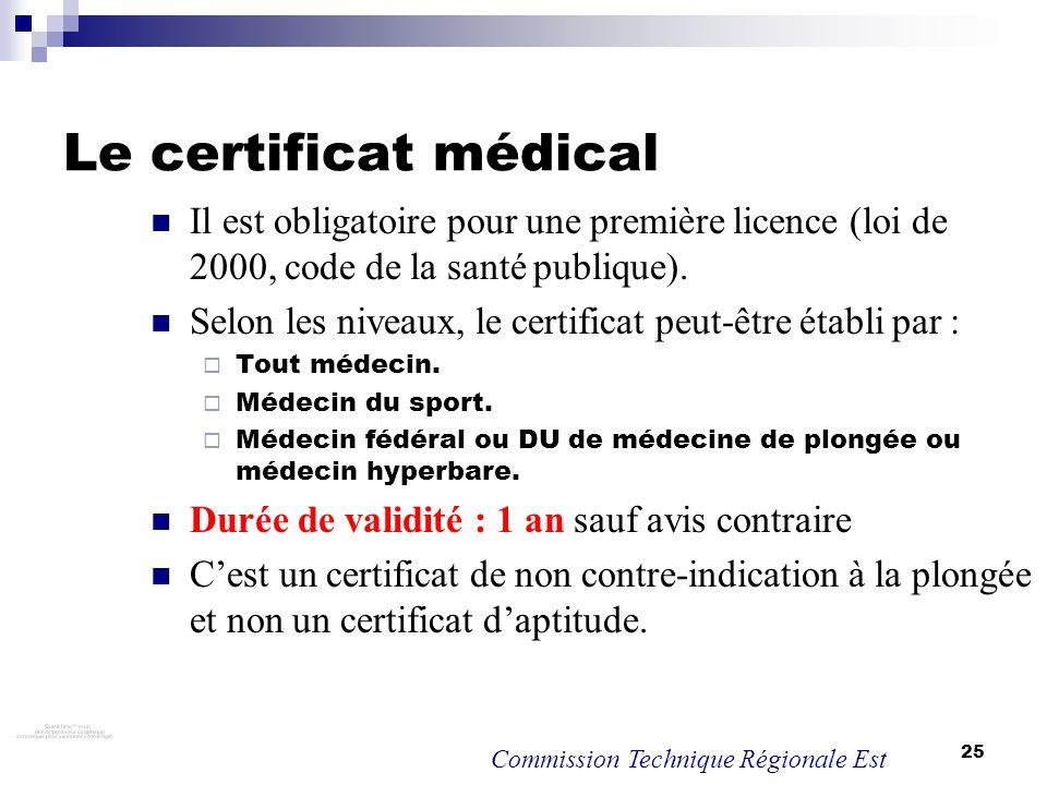 Le certificat médical Il est obligatoire pour une première licence (loi de 2000, code de la santé publique).