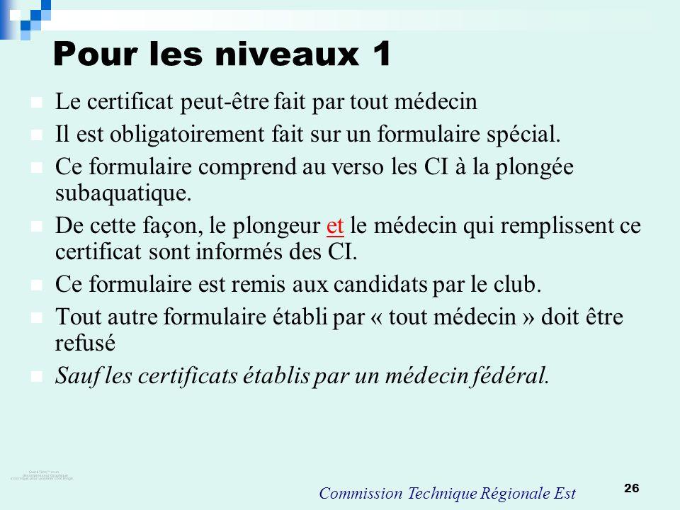 Pour les niveaux 1 Le certificat peut-être fait par tout médecin