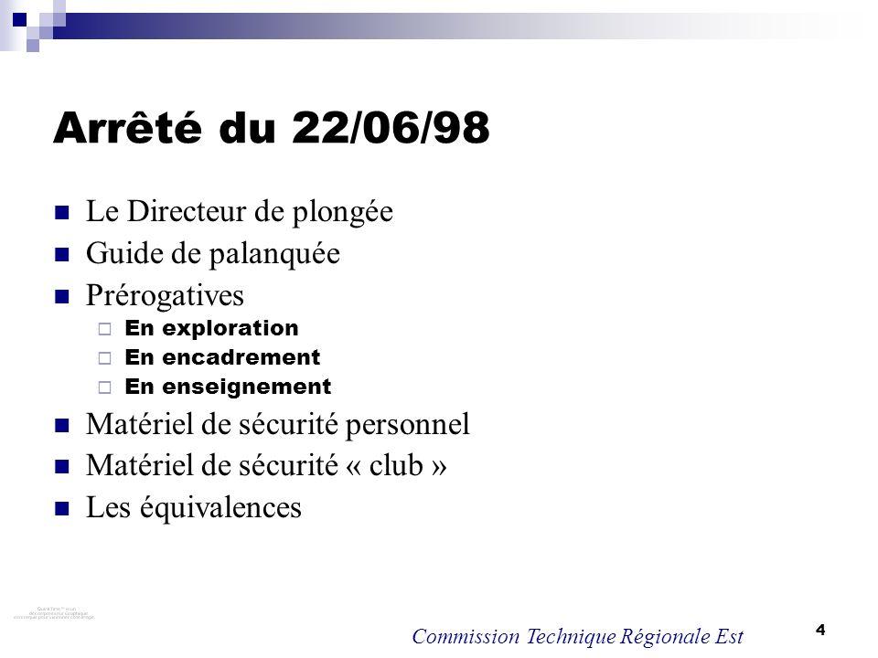 Arrêté du 22/06/98 Le Directeur de plongée Guide de palanquée