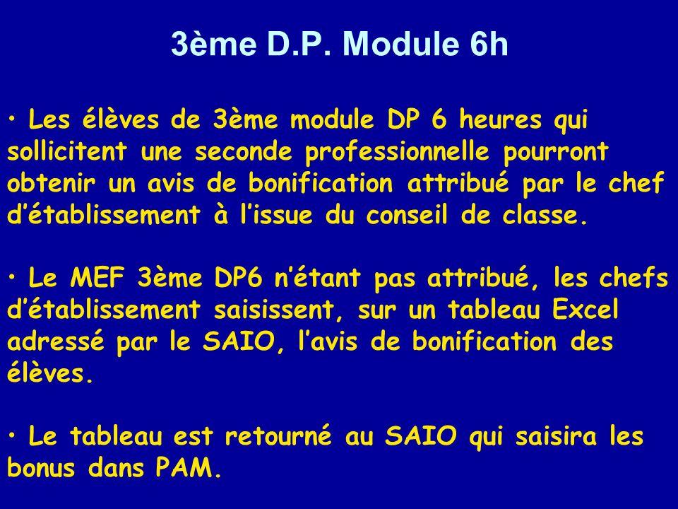 3ème D.P. Module 6h