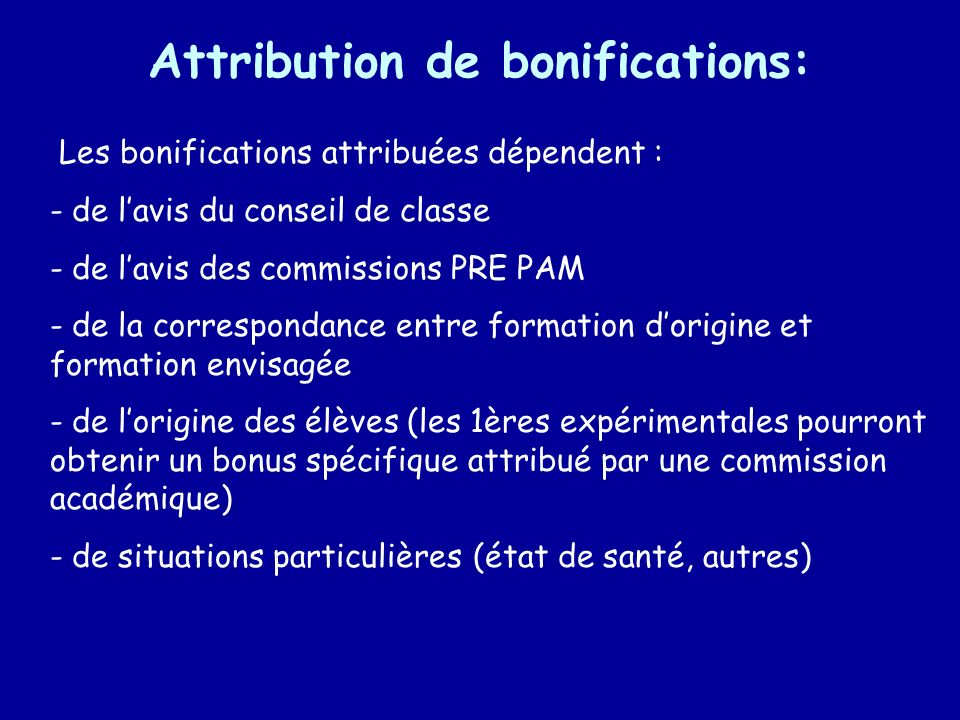 Attribution de bonifications: