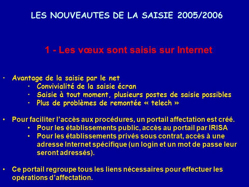 LES NOUVEAUTES DE LA SAISIE 2005/2006