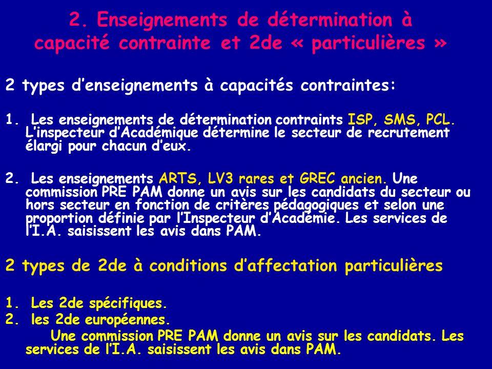 2. Enseignements de détermination à capacité contrainte et 2de « particulières »