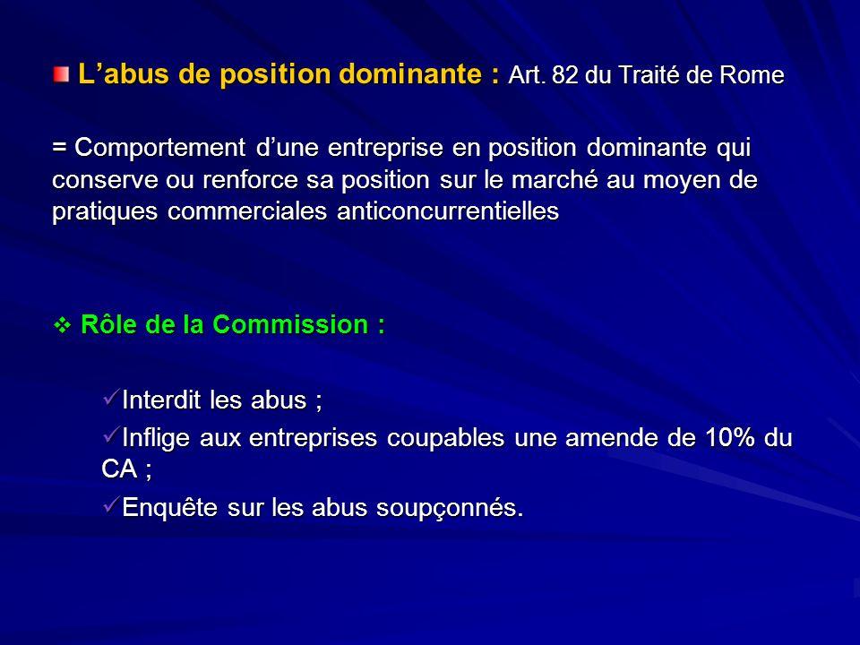 L'abus de position dominante : Art. 82 du Traité de Rome