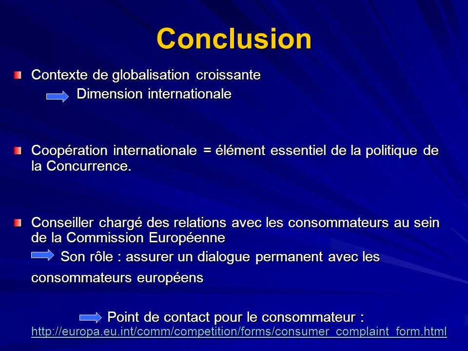 Conclusion Contexte de globalisation croissante
