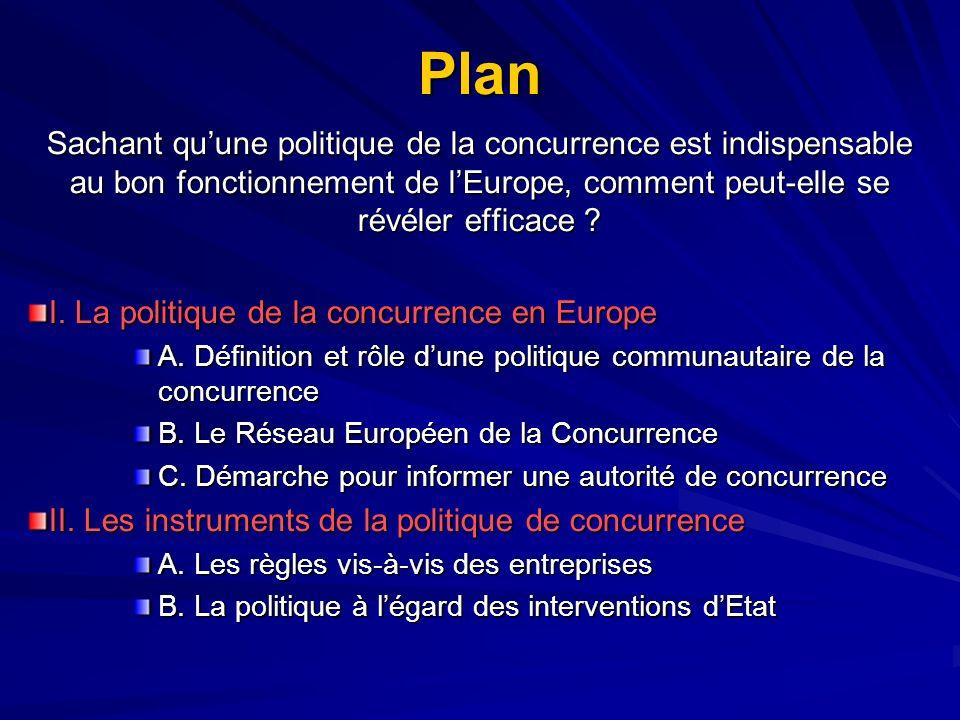 Plan Sachant qu'une politique de la concurrence est indispensable au bon fonctionnement de l'Europe, comment peut-elle se révéler efficace