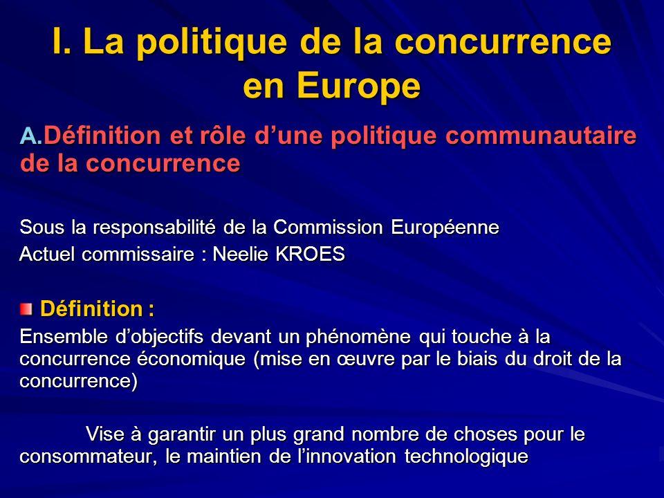 I. La politique de la concurrence en Europe