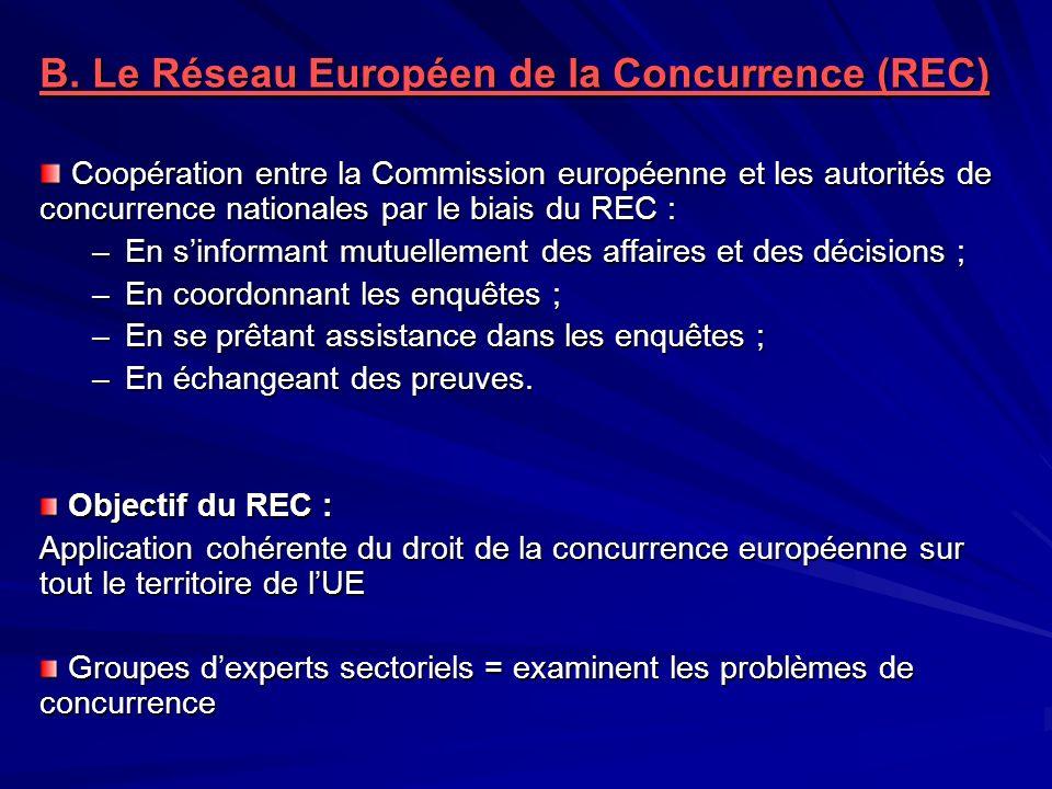 B. Le Réseau Européen de la Concurrence (REC)