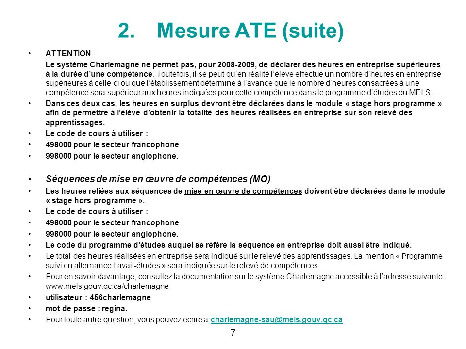 2. Mesure ATE: (suite) 6
