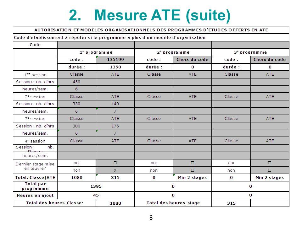2. Mesure ATE (suite) Séquences de mise en œuvre de compétences (MO) 7