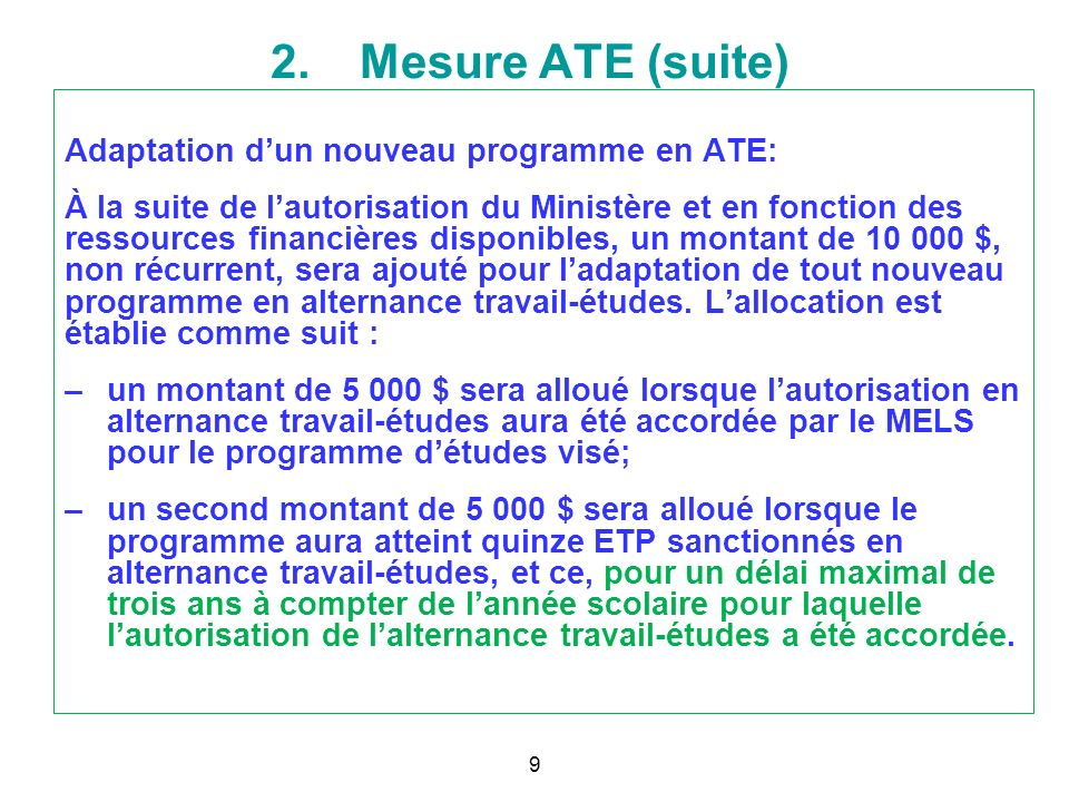 2. Mesure ATE (suite) 8