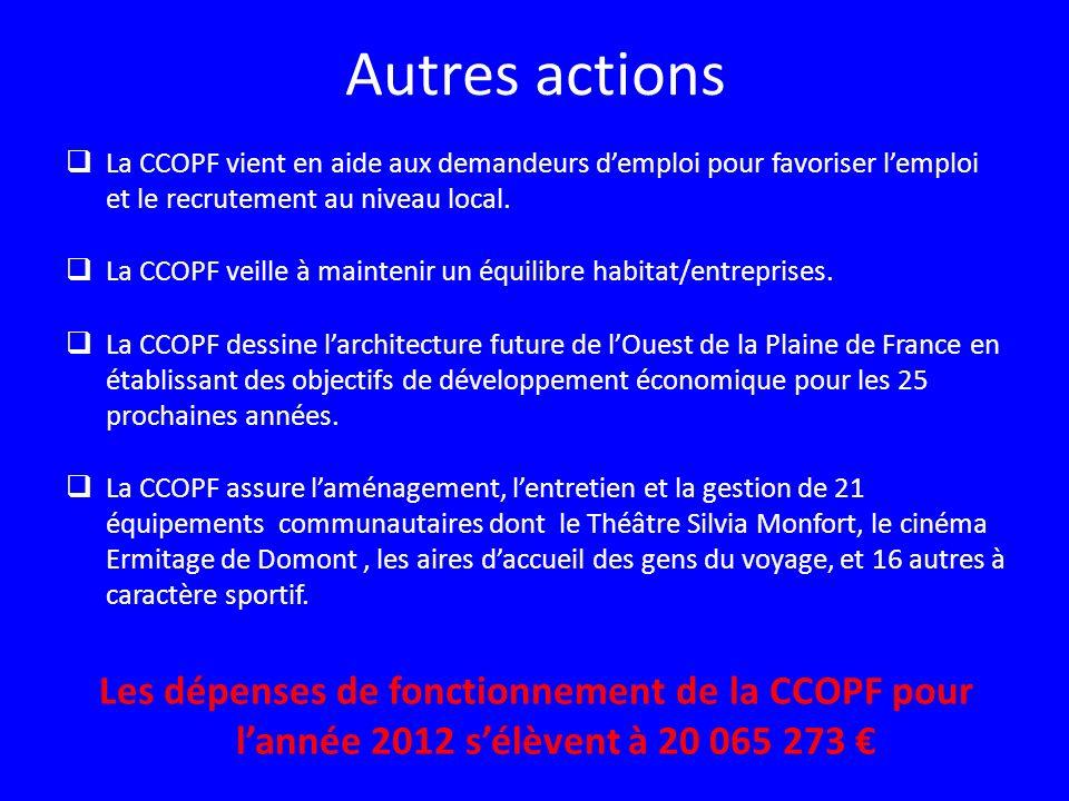 Autres actions La CCOPF vient en aide aux demandeurs d'emploi pour favoriser l'emploi et le recrutement au niveau local.
