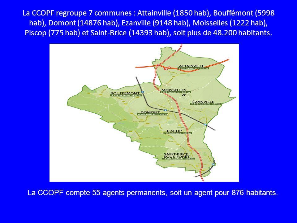 La CCOPF regroupe 7 communes : Attainville (1850 hab), Bouffémont (5998 hab), Domont (14876 hab), Ezanville (9148 hab), Moisselles (1222 hab), Piscop (775 hab) et Saint-Brice (14393 hab), soit plus de 48.200 habitants.