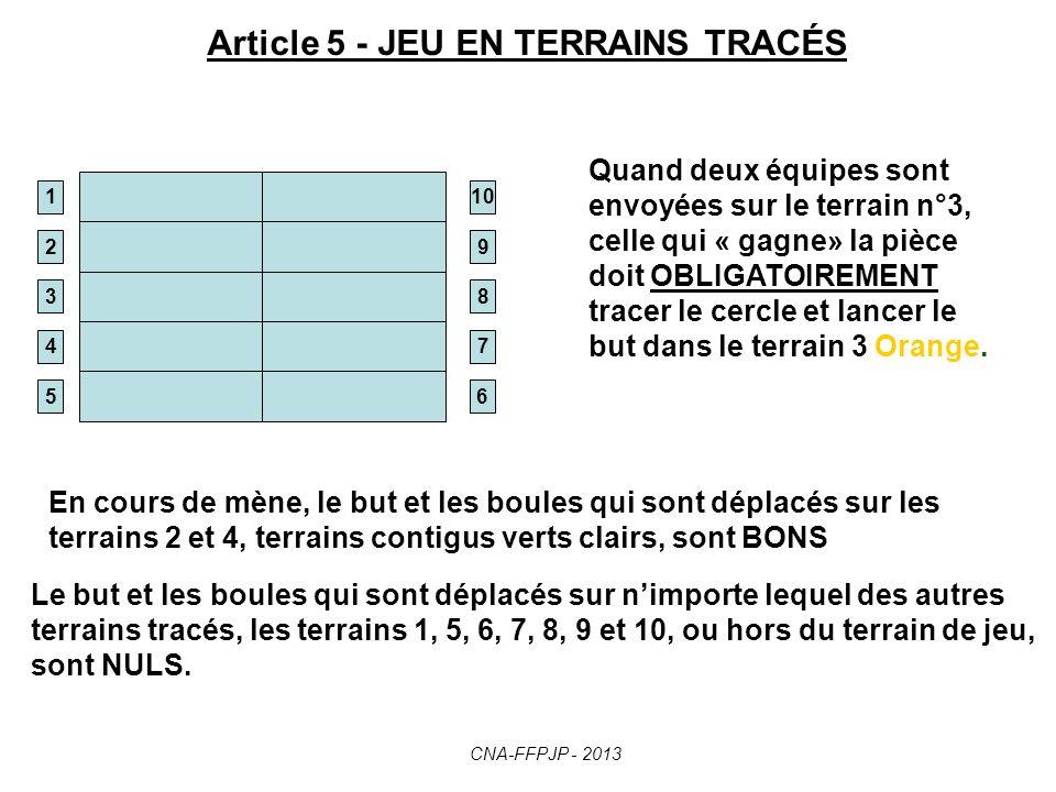 Article 5 - JEU EN TERRAINS TRACÉS