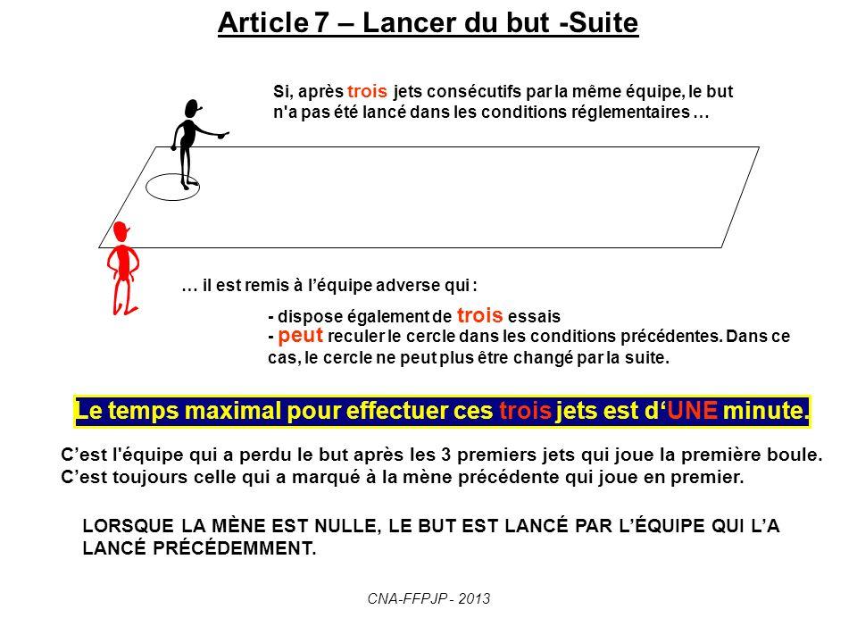 Article 7 – Lancer du but -Suite