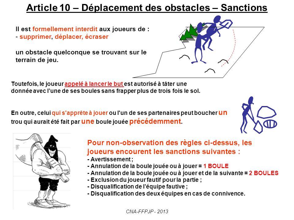 Article 10 – Déplacement des obstacles – Sanctions