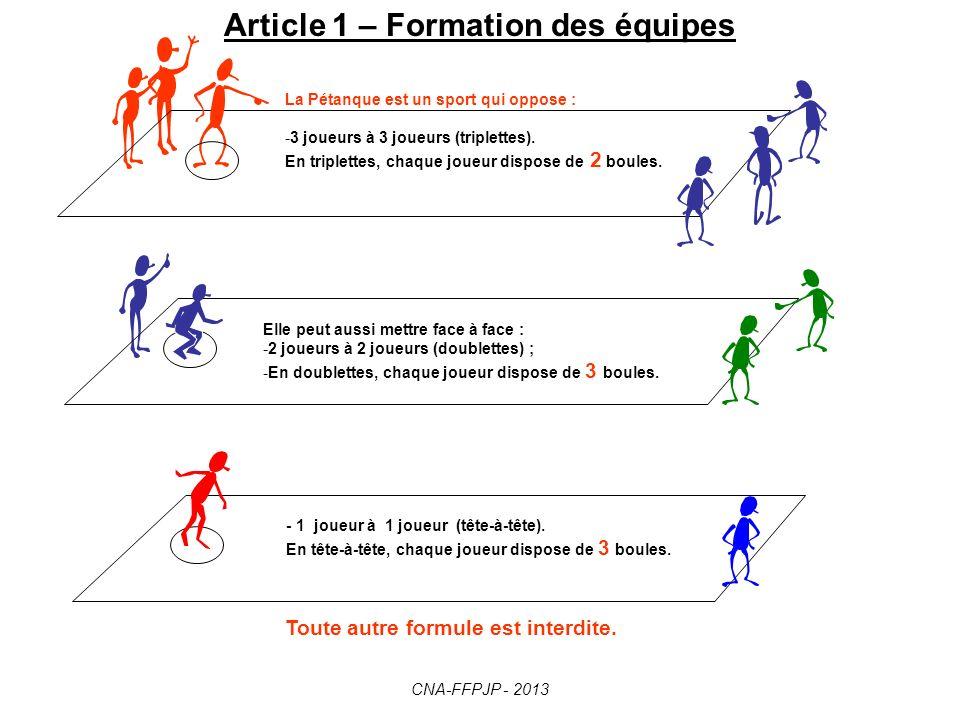 Article 1 – Formation des équipes
