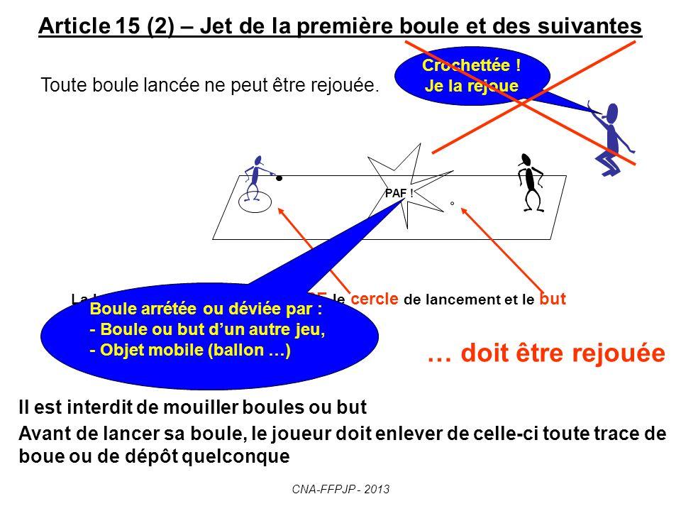 Article 15 (2) – Jet de la première boule et des suivantes