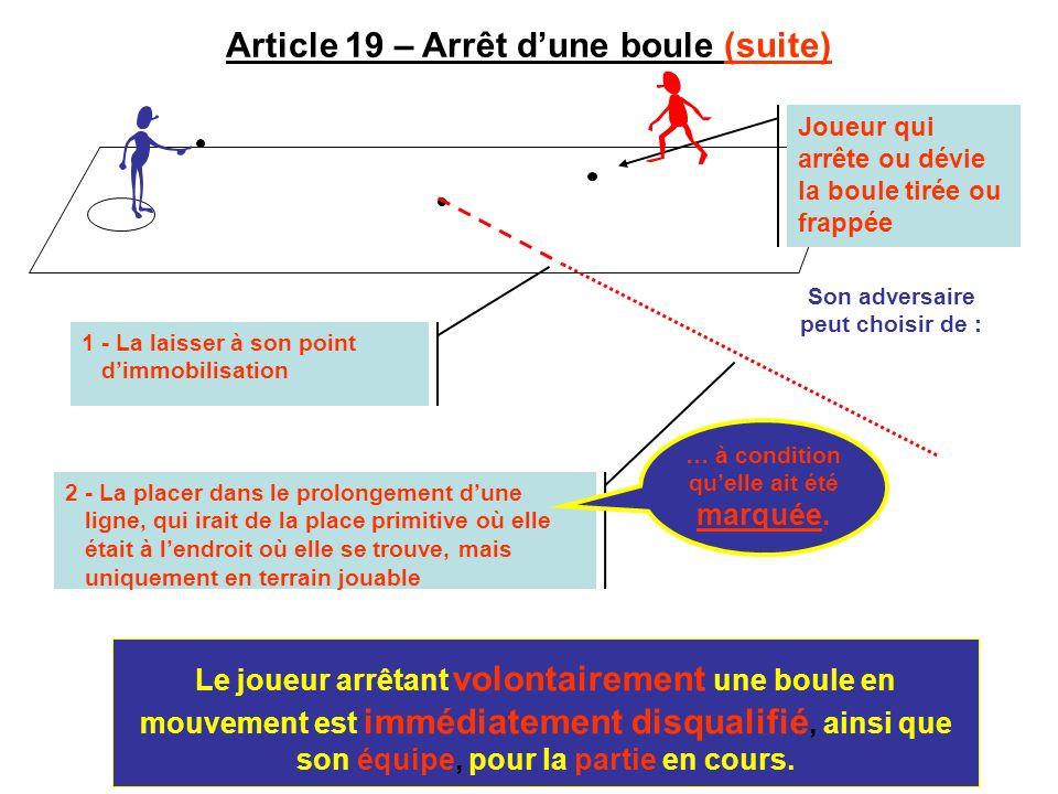 Article 19 – Arrêt d'une boule (suite)