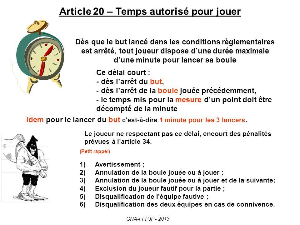 Article 20 – Temps autorisé pour jouer