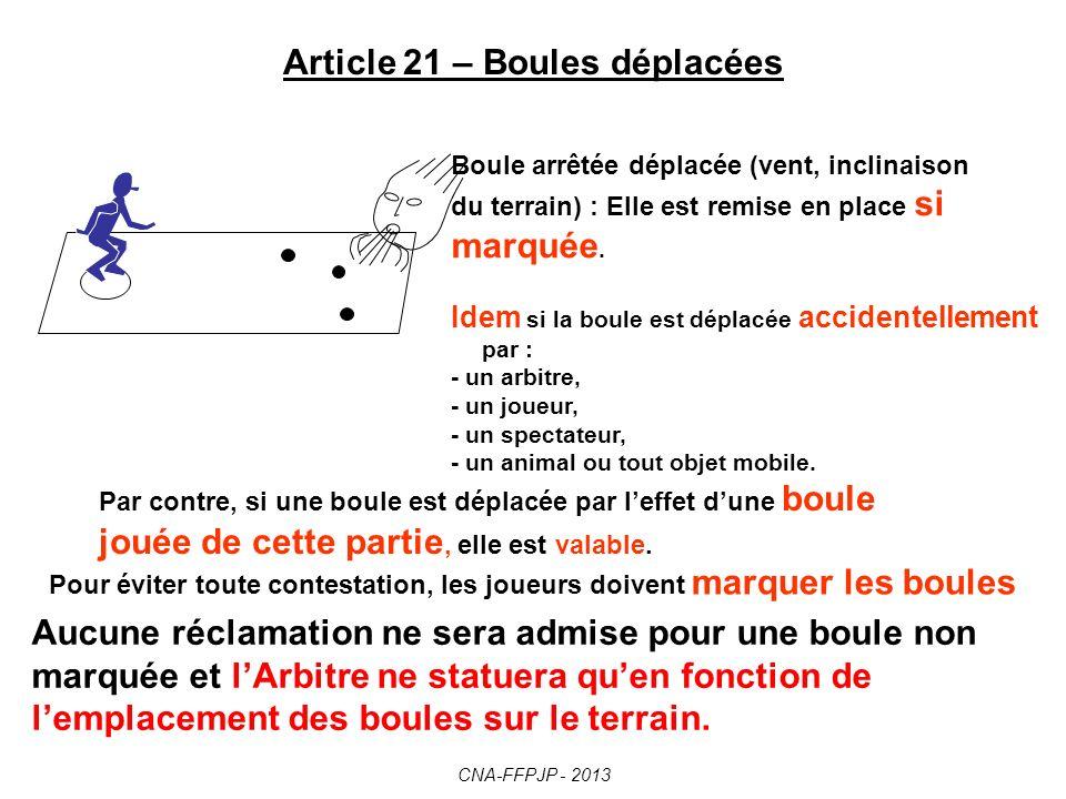 Article 21 – Boules déplacées