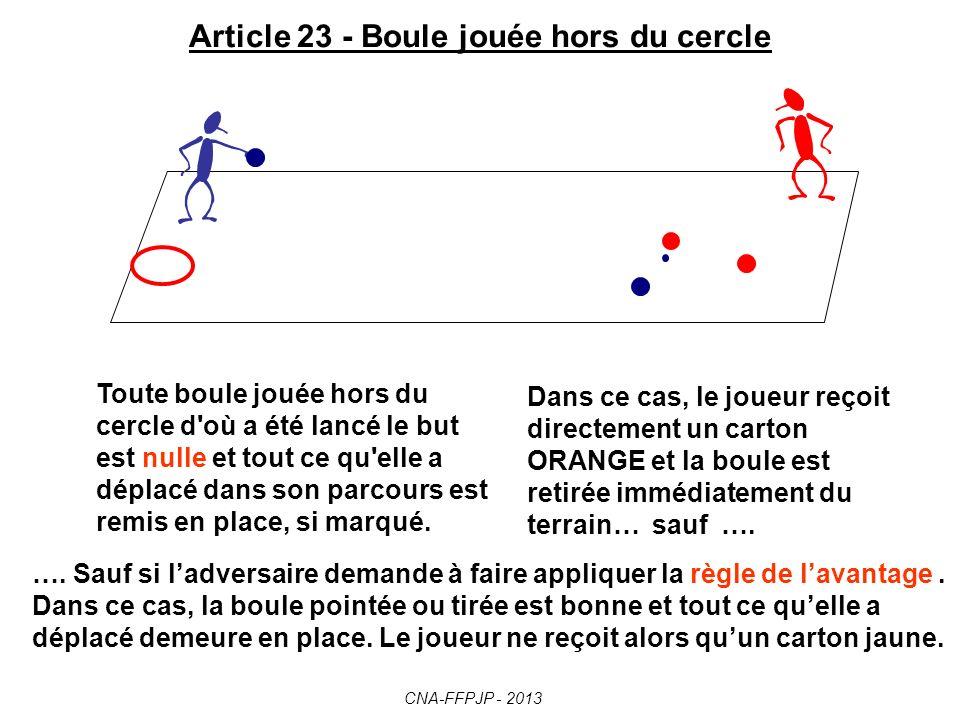 Article 23 - Boule jouée hors du cercle