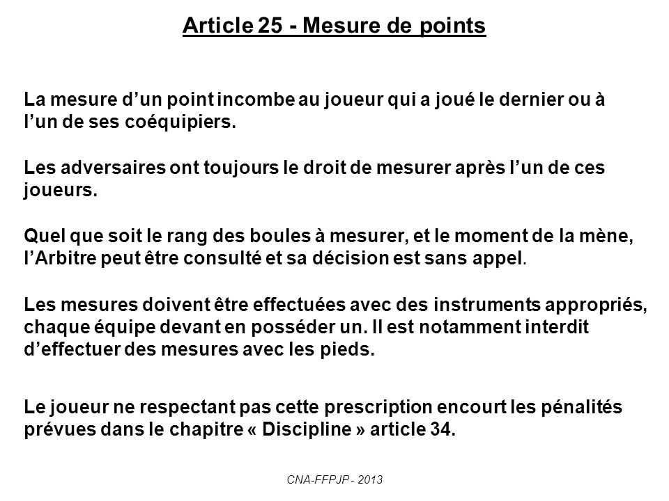Article 25 - Mesure de points