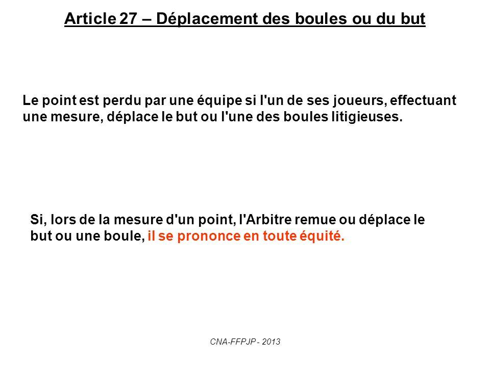 Article 27 – Déplacement des boules ou du but