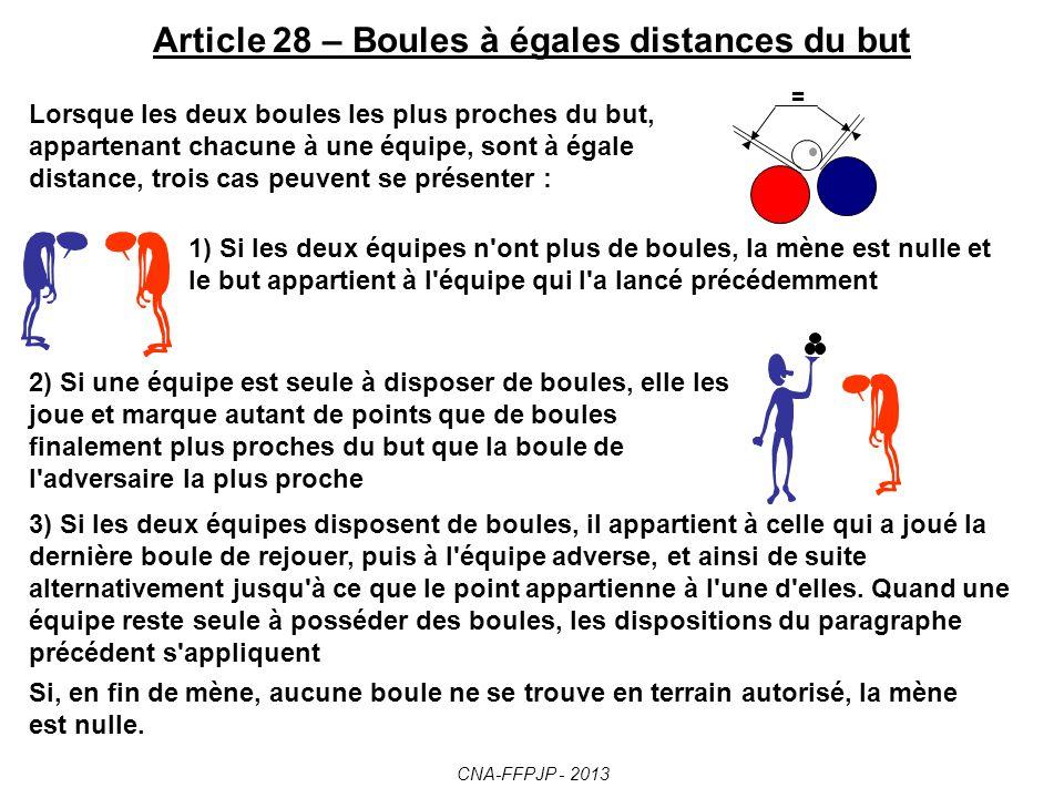 Article 28 – Boules à égales distances du but