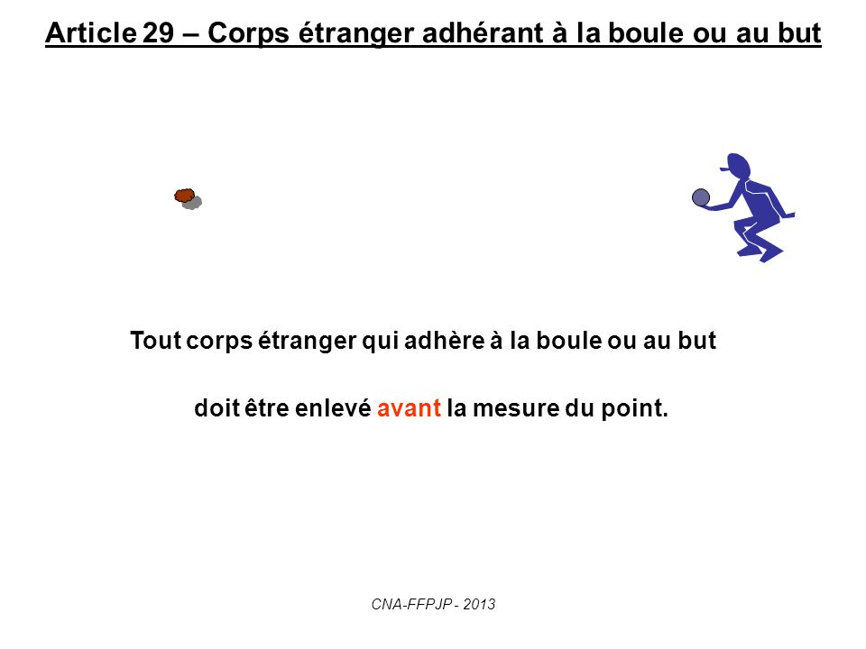 Article 29 – Corps étranger adhérant à la boule ou au but