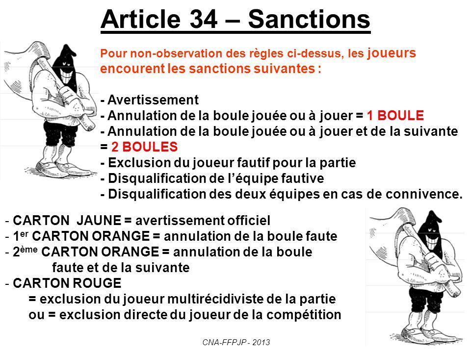 Article 34 – Sanctions - Avertissement