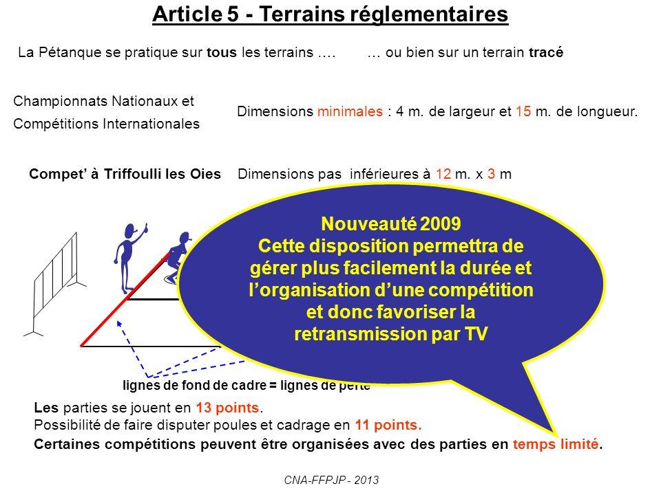 Article 5 - Terrains réglementaires