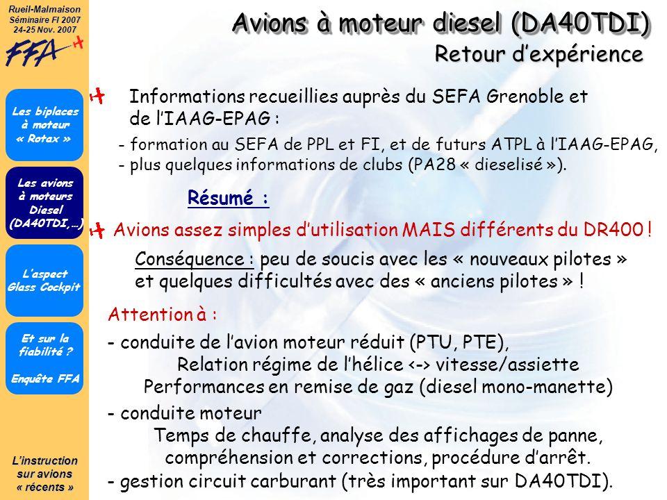 Avions à moteur diesel (DA40TDI)
