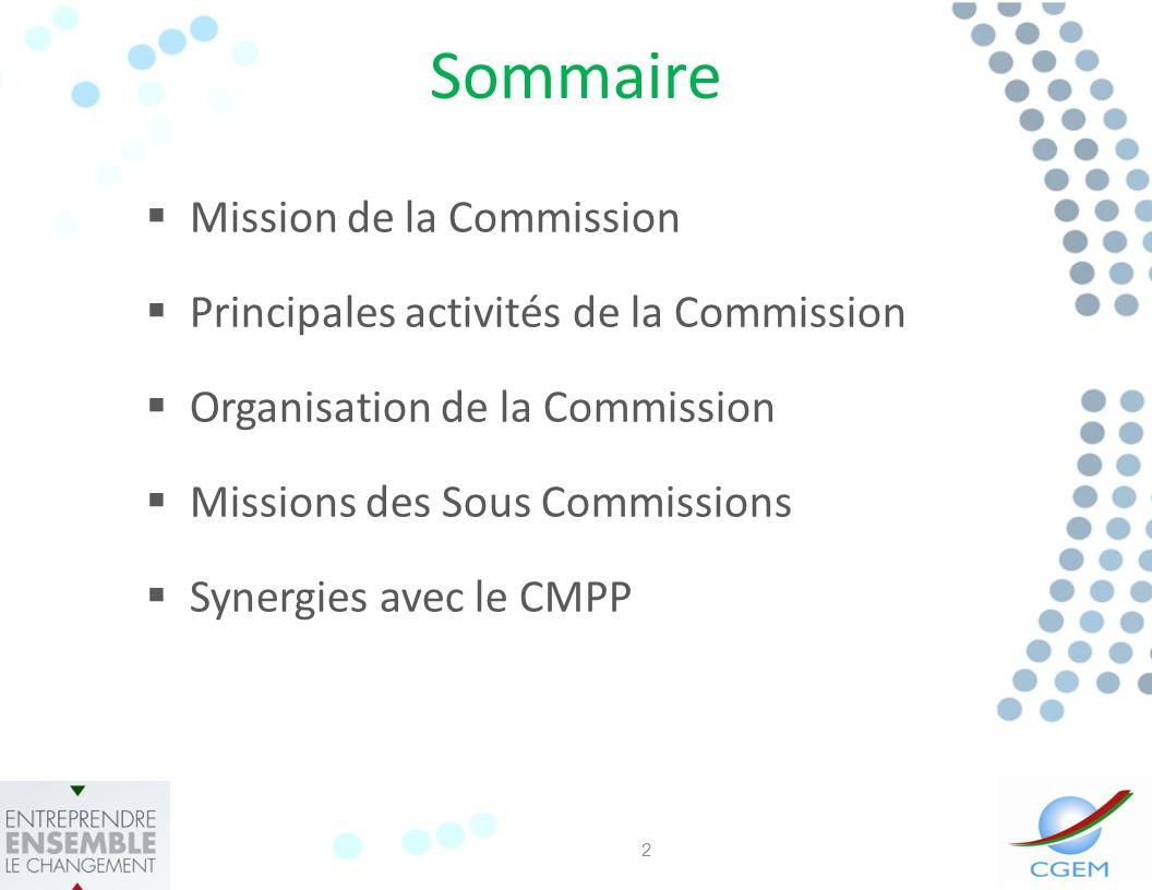 Sommaire Mission de la Commission