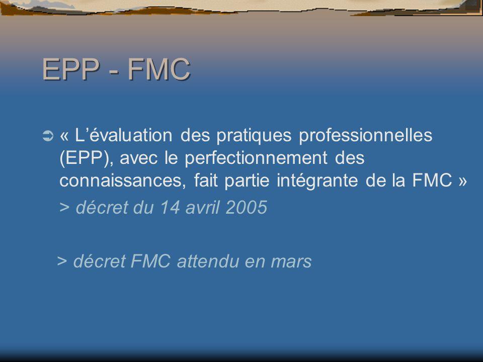 EPP - FMC « L'évaluation des pratiques professionnelles (EPP), avec le perfectionnement des connaissances, fait partie intégrante de la FMC »