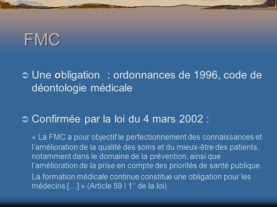 FMC Une obligation : ordonnances de 1996, code de déontologie médicale. Confirmée par la loi du 4 mars 2002 :