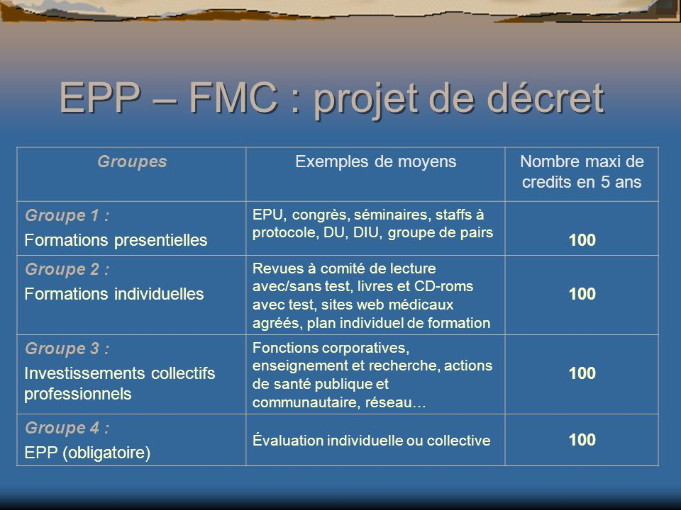 EPP – FMC : projet de décret