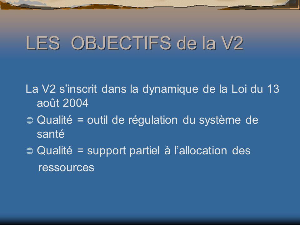 LES OBJECTIFS de la V2 La V2 s'inscrit dans la dynamique de la Loi du 13 août 2004. Qualité = outil de régulation du système de santé.