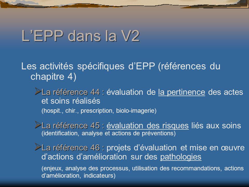 L'EPP dans la V2 Les activités spécifiques d'EPP (références du chapitre 4)