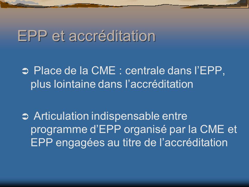 EPP et accréditation Place de la CME : centrale dans l'EPP, plus lointaine dans l'accréditation.