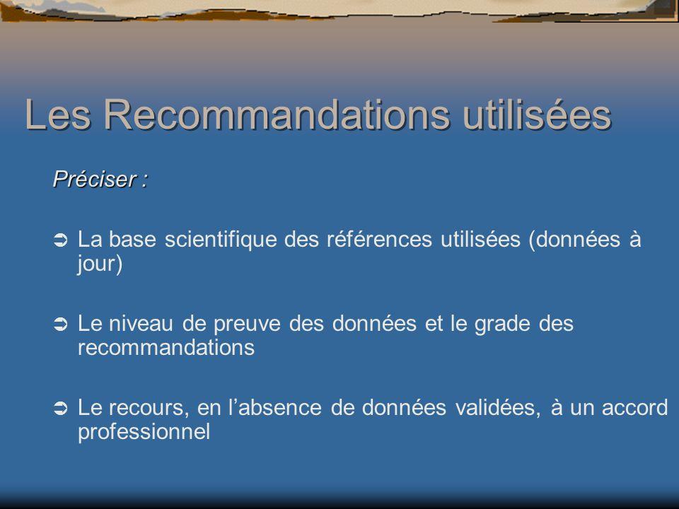 Les Recommandations utilisées