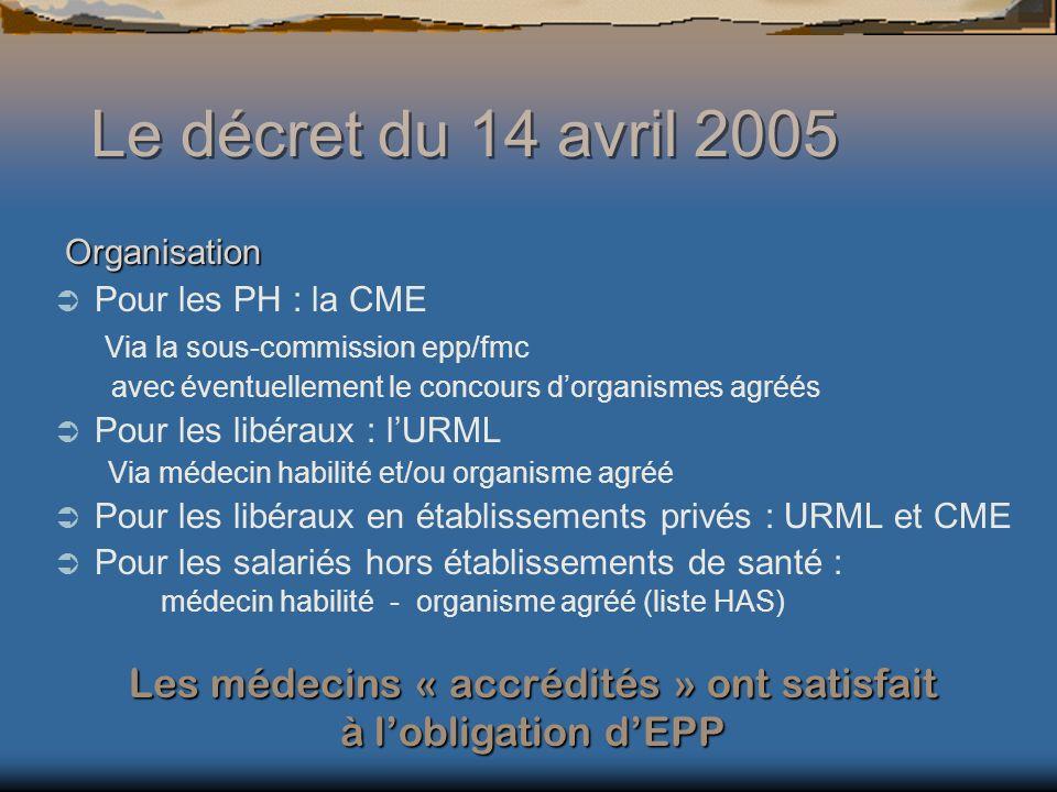 Les médecins « accrédités » ont satisfait à l'obligation d'EPP