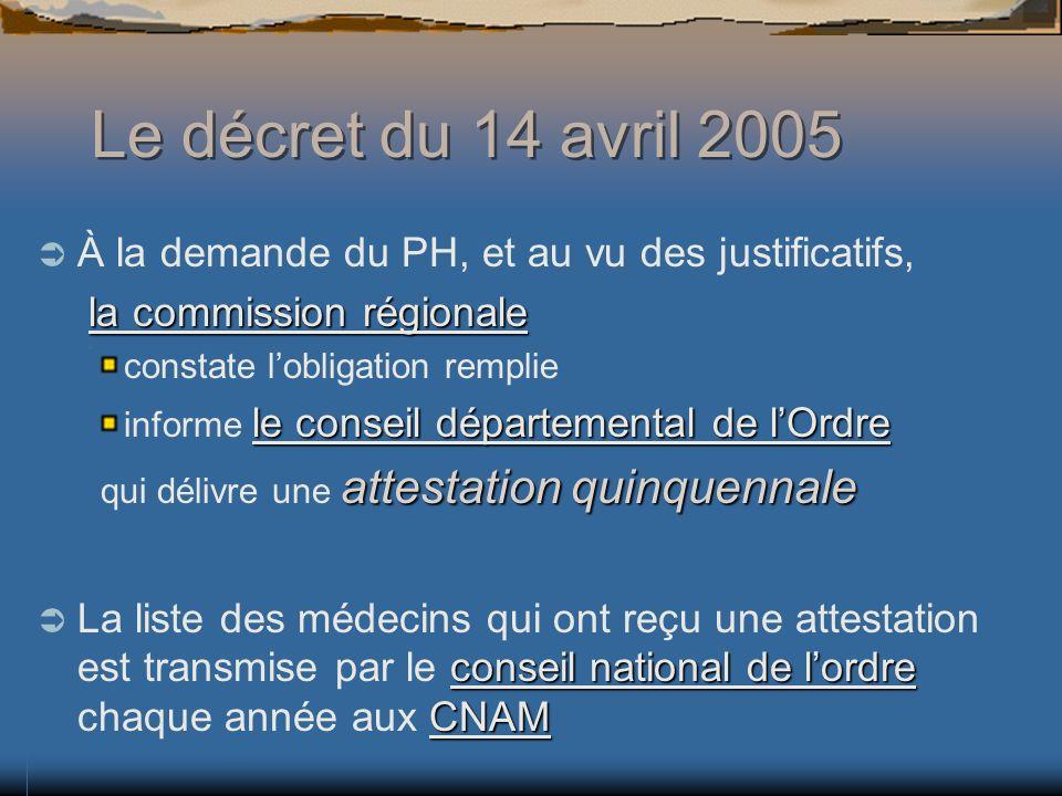 Le décret du 14 avril 2005 À la demande du PH, et au vu des justificatifs, la commission régionale.