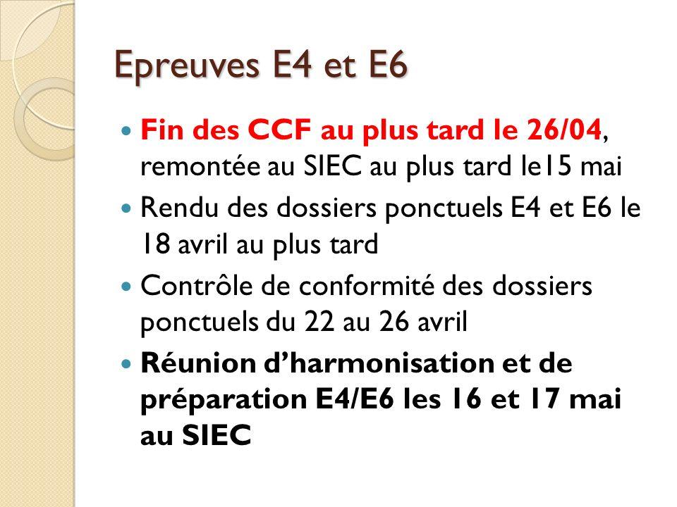 Epreuves E4 et E6 Fin des CCF au plus tard le 26/04, remontée au SIEC au plus tard le15 mai.