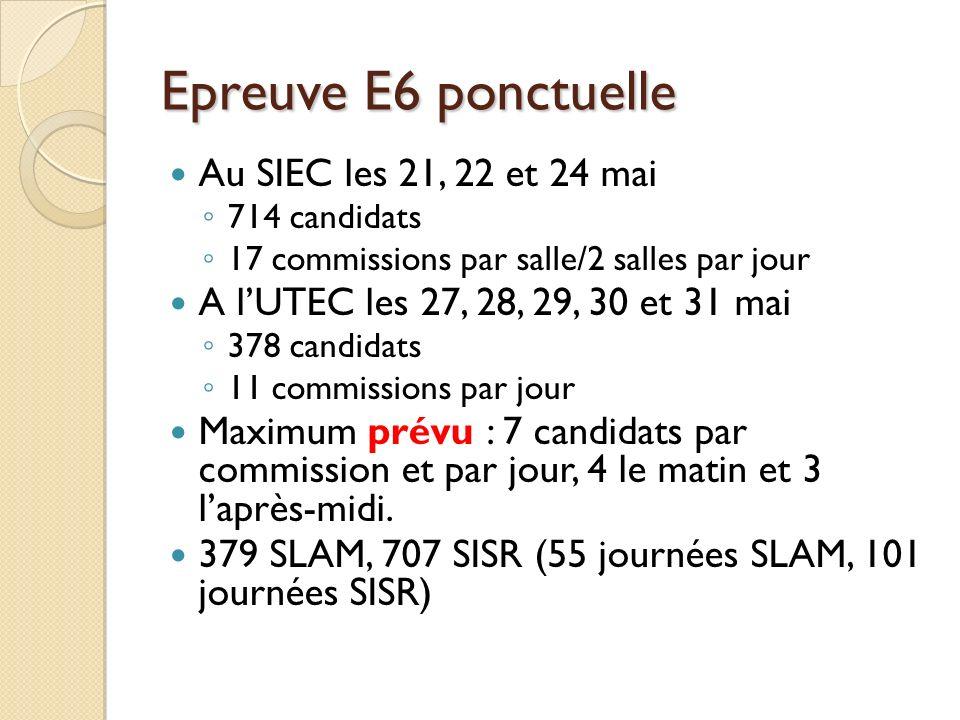 Epreuve E6 ponctuelle Au SIEC les 21, 22 et 24 mai
