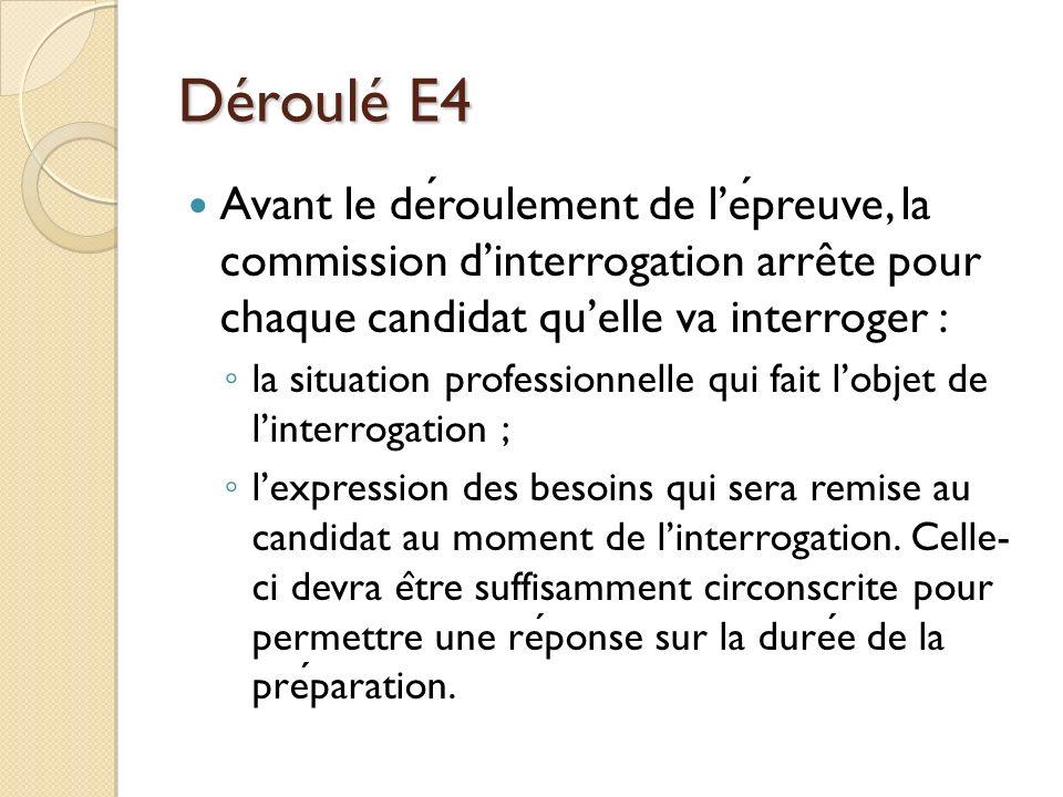 Déroulé E4 Avant le déroulement de l'épreuve, la commission d'interrogation arrête pour chaque candidat qu'elle va interroger :
