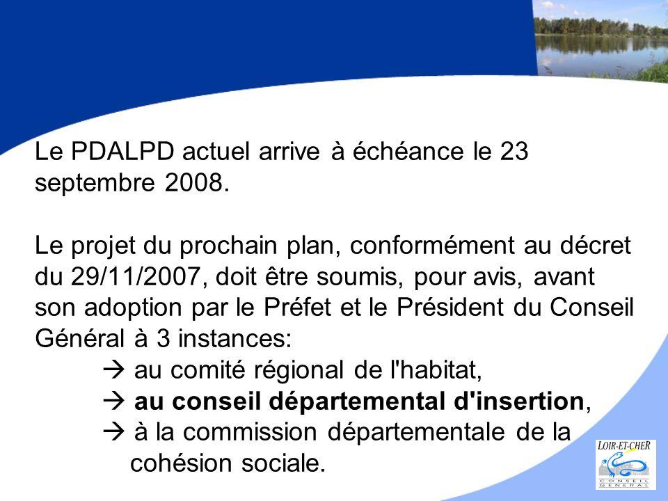 Le PDALPD actuel arrive à échéance le 23 septembre 2008