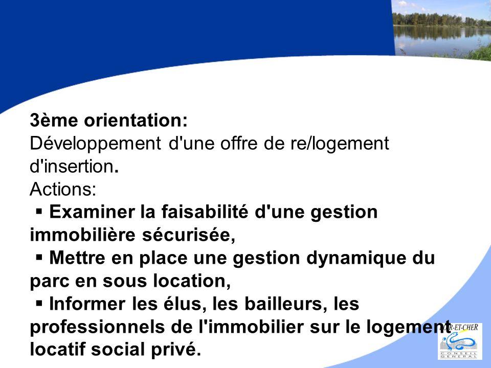 3ème orientation: Développement d une offre de re/logement d insertion