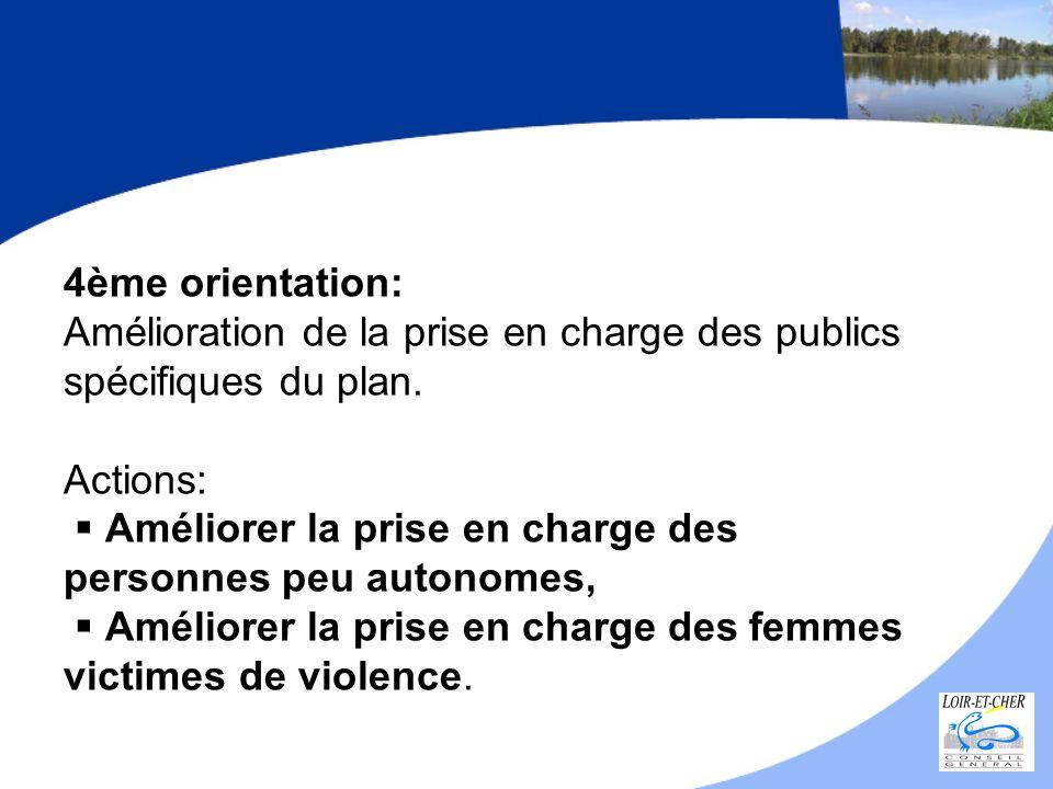4ème orientation: Amélioration de la prise en charge des publics spécifiques du plan.